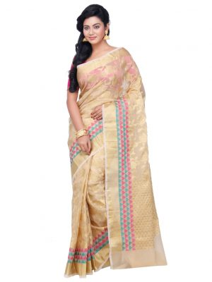 Beige Moonga Check Fancy Banarasi Saree