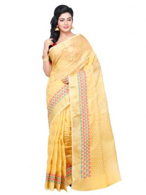 Gold Moonga Check Fancy Banarasi Saree