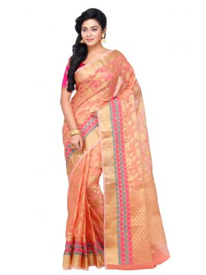 Peach Moonga Check Fancy Banarasi Saree