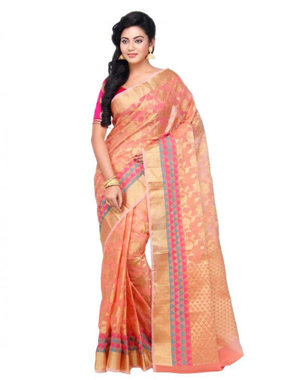 Peach Moonga Check Fancy Banarasi Saree