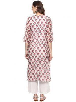 White Raw Silk Asymmetric Regular Fit Kurti