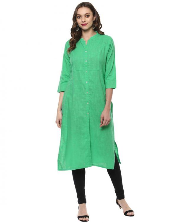 Green Slub Chinese Collar Regular Fit Kurti