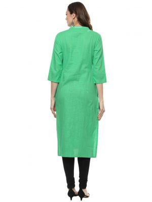 Green Slub Chinese Collar Regular Fit Kurti
