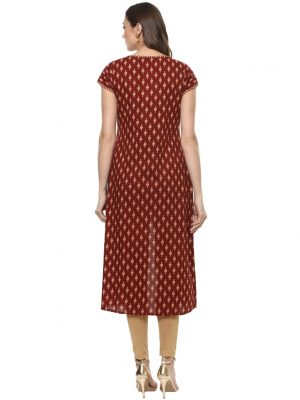 Maroon Cotton Round Neck Regular Fit Kurti