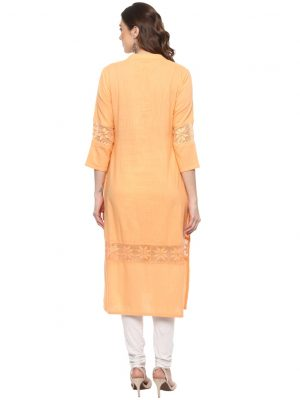 Peach Slub Chinese Collar Regular Fit Kurti