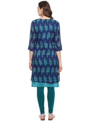 Blue Cotton Round Neck Regular Fit Kurti
