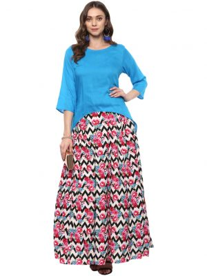 Blue Modal Collared Regular Fit Kurti
