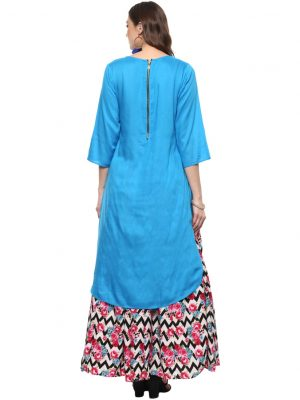Blue Modal Round Neck Regular Fit Kurti