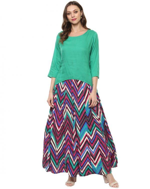 Green Modal Round Neck Regular Fit Kurti and Skirt