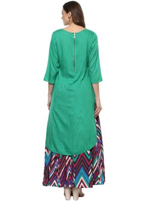 Green Modal Round Neck Regular Fit Kurti and Skirt
