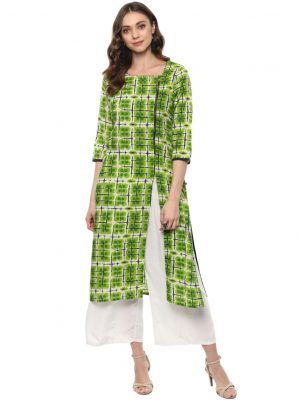 Parrot Green Cotton Round Neck Regular Fit Kurti