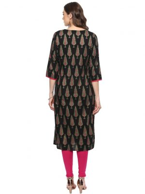 Black Cotton Regular Fit Kurti