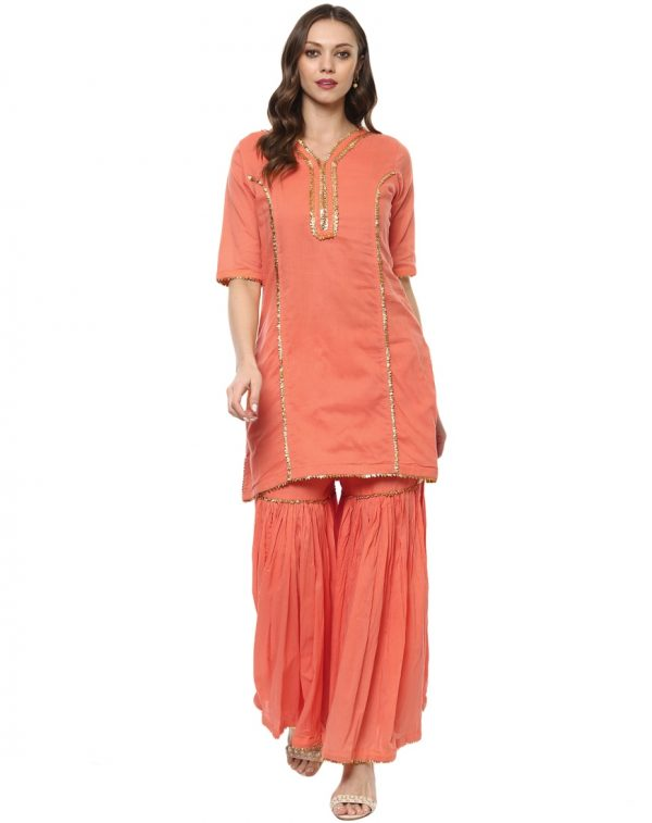 Peach Cotton V Neck Regular Fit Kurti and Palazzo