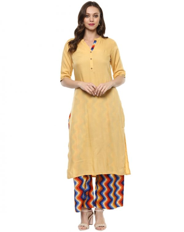 Beige Rayon Standing Collar Regular Fit Kurti and Palazzo