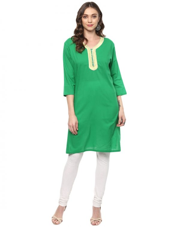 Green Green Cotton Round Neck Regular Fit KurtiGreen Cotton Round Neck Regular Fit KurtiCotton Round Neck Regular Fit Kurti
