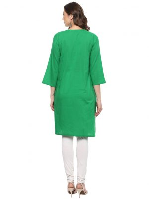 Green Cotton Round Neck Regular Fit Kurti