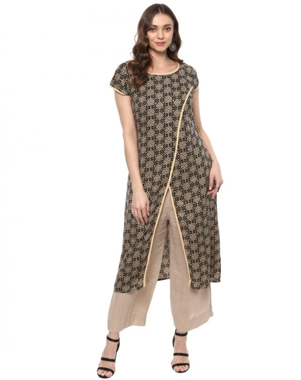 Cream Twill Round Neck Regular Fit Kurti
