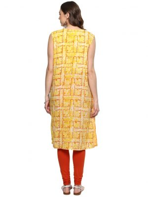 Orange Cotton Round Neck Regular Fit Kurti