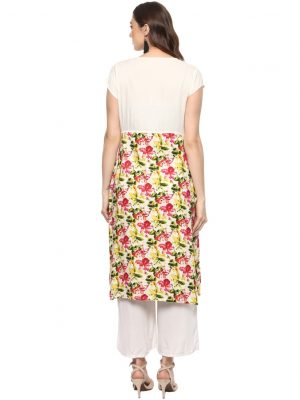 White Rayon Collared Regular Fit Kurti