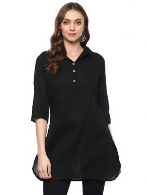 Black Cotton Collared Regular Fit Kurti