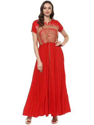 Red Rayon Round Neck Regular Fit Kurti