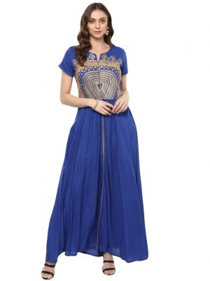 Blue Rayon Round Neck Regular Fit Kurti