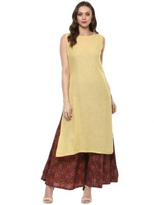 Coffee Cotton Round Neck Regular Fit Kurti and Koti