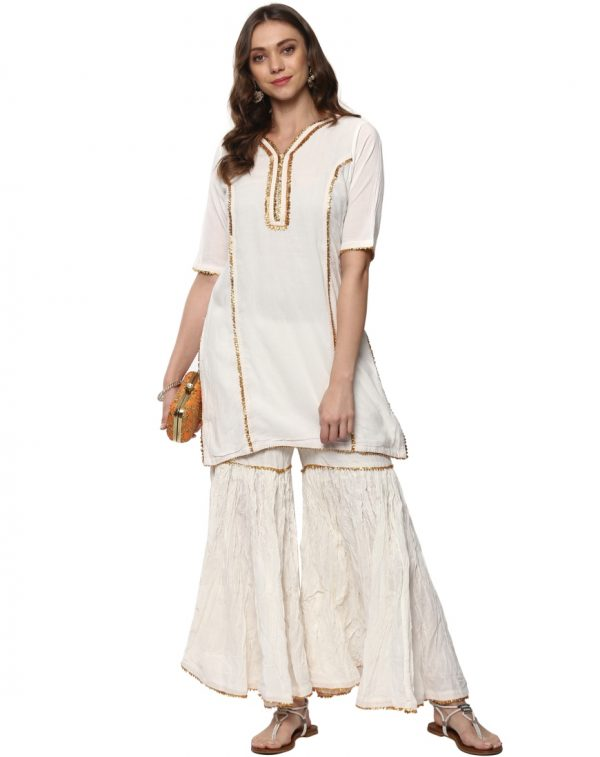 White Cotton V Neck Regular Fit Kurti and Palazzo