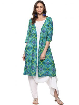 Green Cotton Round Neck Regular Fit Kurti and Dhoti