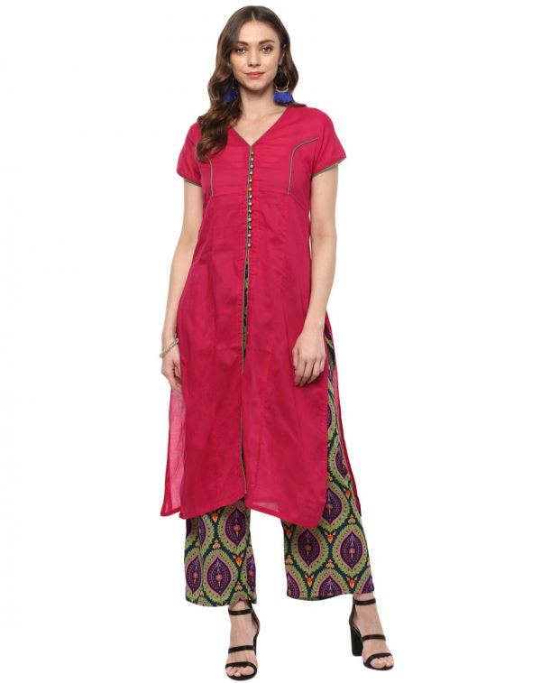 Pink Cotton Round Neck Regular Fit Kurti and Palazzo