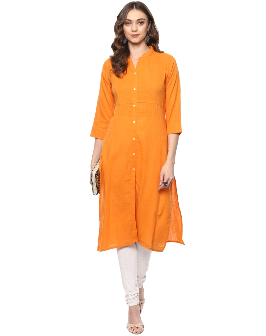 Stand Collar Designs For Kurti : Orange slub chinese collar regular fit kurti
