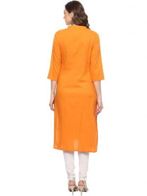 Orange Slub Chinese Collar Regular Fit Kurti