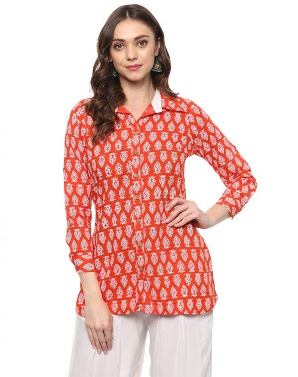 Orange Cotton Collared Regular Fit Kurti