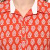 Orange Cotton Collared Regular Fit Kurti