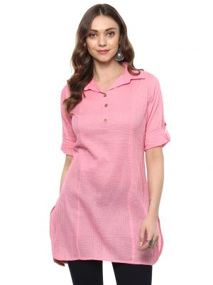 Light Pink Cotton Collared Regular Fit Kurtiv