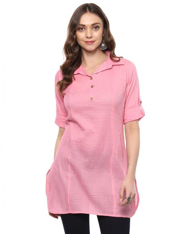 Light Pink Cotton Collared Regular Fit Kurtiv