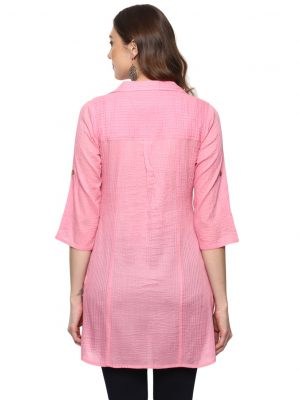 Light Pink Cotton Collared Regular Fit Kurti