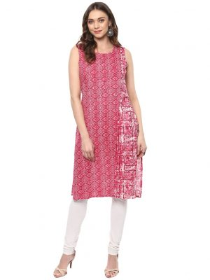 Pink Cotton Round Neck Regular Fit Kurti
