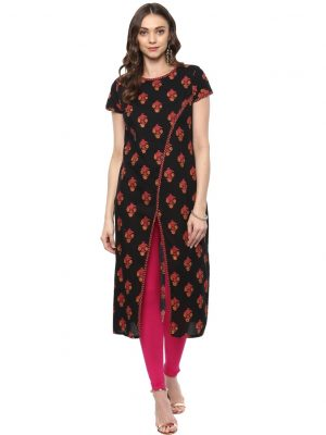 Black Cotton Round Neck Regular Fit Kurti