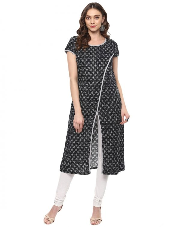 Black Twill Round Neck Regular Fit Kurti