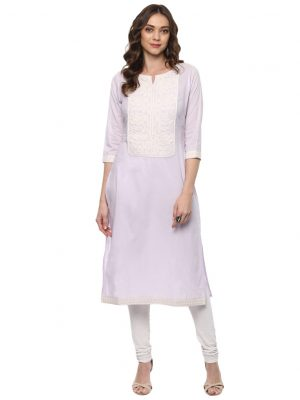 Light Purple Cotton Round Neck Regular Fit Kurti