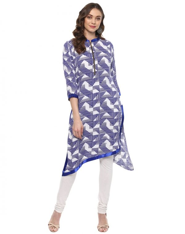 Blue Cotton Collared Regular Fit Kurti
