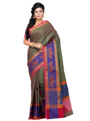 Wine Cotton Blend Fancy Banarasi Saree
