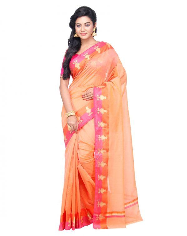 Peach Supernet Cotton Banarasi Border Saree