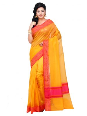 Gold Supernet Cotton Banarasi Border Saree