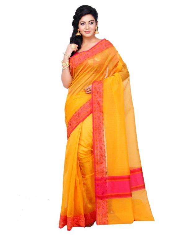 Gold Supernet Cotton Banarasi Border Saree
