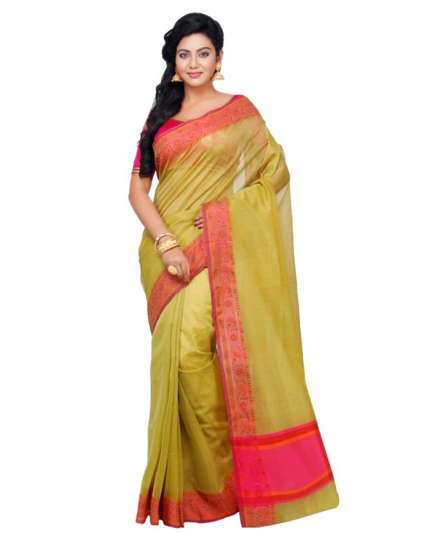Green Supernet Cotton Banarasi Border Saree