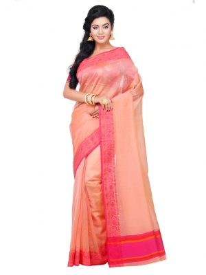 Peach Supernet Cotton Banarasi Border Saree