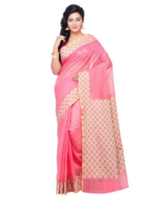 Pink Moonga Check Fancy Banarasi Aanchal Border Saree