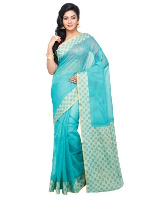 Sky blue Moonga Check Fancy Banarasi Aanchal Border Saree